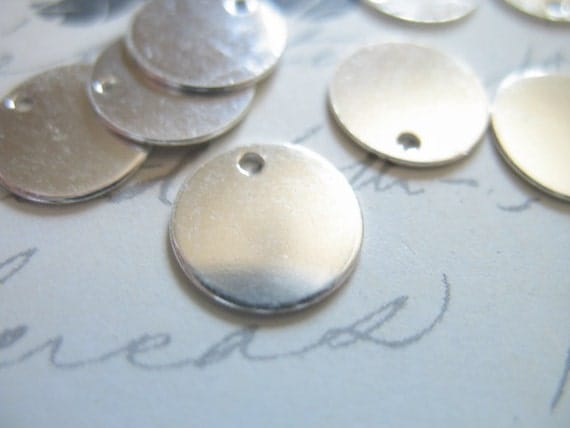 """Special Sale.. 5 10 20+ pcs, Sterling Silver Metal Stamping Blanks Discs, 9 mm, 3/8"""" inch, Round Circle, 24 ga wholesale solo blank110..v1"""