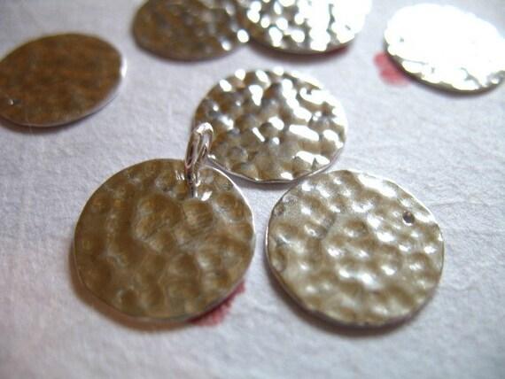 shop sale 5 pcs bulk sterling silver hammered disc