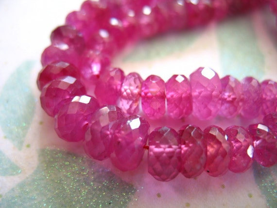 reserve .. RUBY Pink SAPPHIRE Rondelles Beads, Luxe AA, 2.5-3 mm, 50 pcs, Raspberry Plum Pink Red, july september birthstone tr