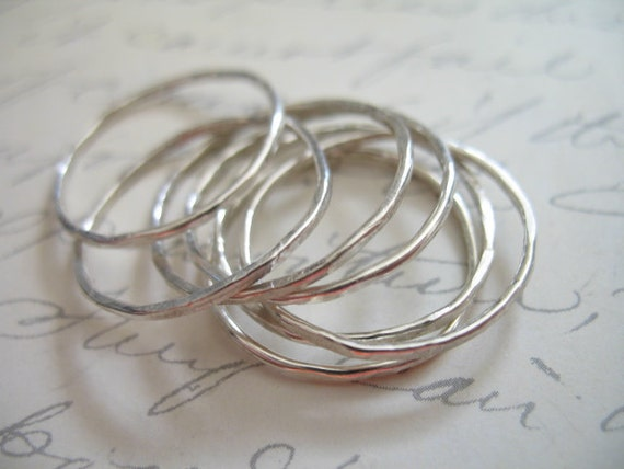 Shop Sale.. Sterling Silver Stack Ring Above Knuckle Midi Ring Stackable Stacking Band Rings, Hammered, 5 rings, hot trend wholesale, sr1-5