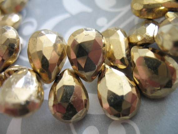PYRITE Briolette Beads, Gold, Faceted Pear, Luxe AAA, Set of 3, 13-14 mm, Huge Sparkly Focals...metallic steampunk