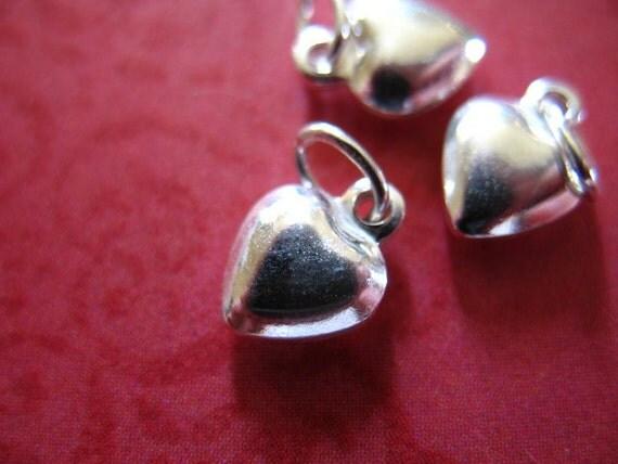 Shop Sale... PUFFY HEART Charm Pendant, Puffed Heart, 925 Sterling Silver, 20 pcs Bulk Wholesale, 9x6.5 mm, bride bridal love anniversary hp