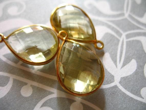 9% Off Gems Sale..  LEMON QUARTZ Bezel Gemstone Connectors Pendants, 24k Gold Vermeil, Luxe AAA, 2 pcs, 24x14 mm, Yellow Pear vp43L