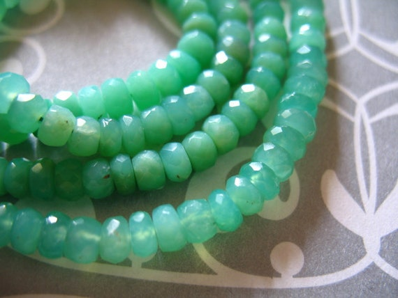 Shop Sale.. Chrysoprase Rondelles Beads, Green Chalcedony, Luxe AAA, 4-4.5 mm, Faceted, 1/2 Strand, Natural, Australian may birthstone tr