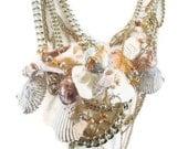Mermaid Necklace - Seashell Bib statement assemblage Ppece - InVintageHeaven