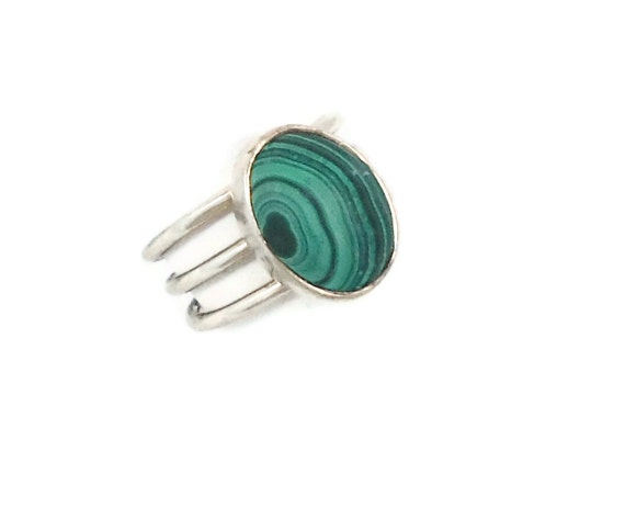 RESERVED - Malachite silver vintage ring - Mexico, sleek, contemporary design - Adjustable - InVintageHeaven
