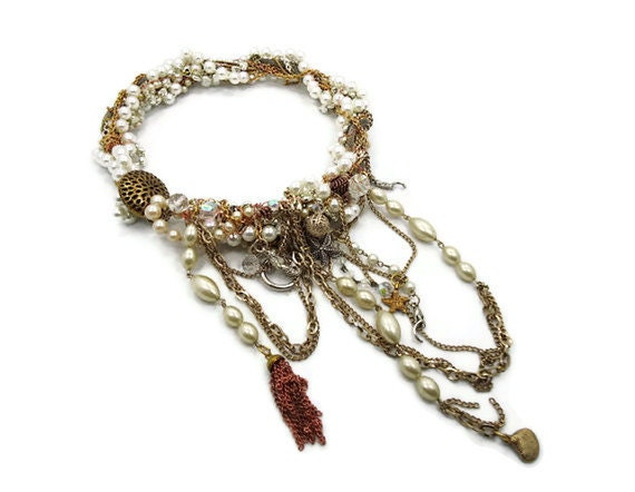 Mermaid necklace - Vintage assemblage statement piece - large beaded chains - InVintageHeaven