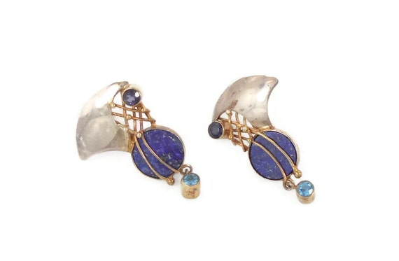 Unique Lapis lazuli sterling silver earrings - Contemporary mixed metals - 1980s - InVintageHeaven