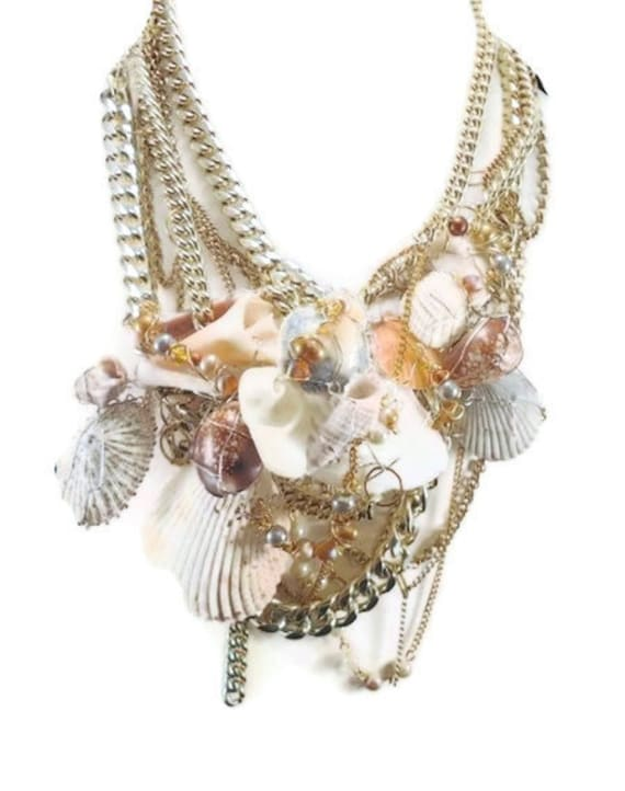 Mermaid Necklace - Seashell Bib statement assemblage Ppece - InVintageHeaven