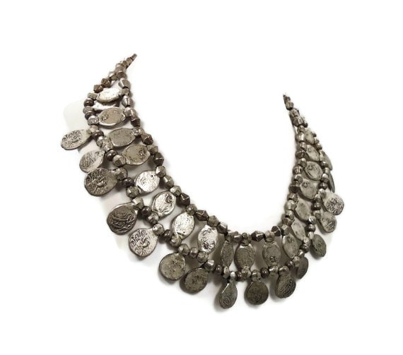 Vintage ethnic necklace -  Ornate, big, heavy silver choker - 1970s Boho tribal -  InVintageHeaven
