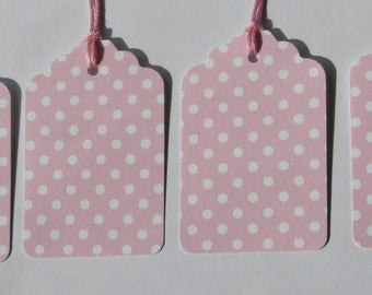 24 Pink polka dot gift tags with white back