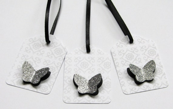 3d silver butterfly tag gift tags with decorative ribbon set of 20