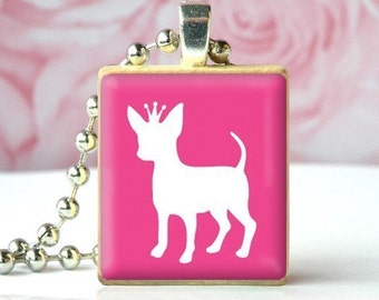 PRINCESS CHIHUAHUA - Scrabble Tile Pendant