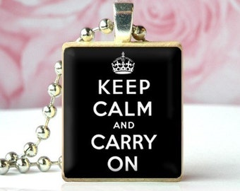 Keep Calm and Carry On (Black) - Scrabble Tile Pendant