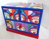 Marmite - jewelry trinket box mini chest of drawers - red blue - OOAK