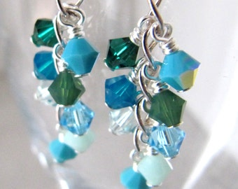 Swarovski crystals cluster earrings Sterling silver - Mini Sea Shower MADE TO ORDER