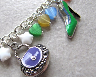 Never Too Many charm bracelet - silver plated enamel charms - rainbow multi-coloured