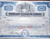 Vintage ITT company Stock Certificate...100 shares