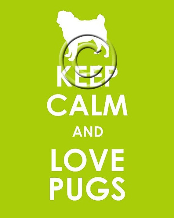 Keep Calm and Love Pugs archival print 11x14