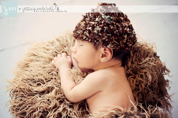 Dreadlock Brown Neutral Faux Fur Newborn Photo Props - Baby Photography Props - Brown Fake Fur, Basket Stuffer, Blanket -  20 x 30