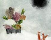 fox's garden / original painting on canvas