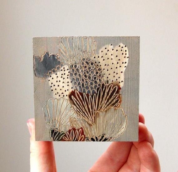 january flora / original painting on reclaimed wood