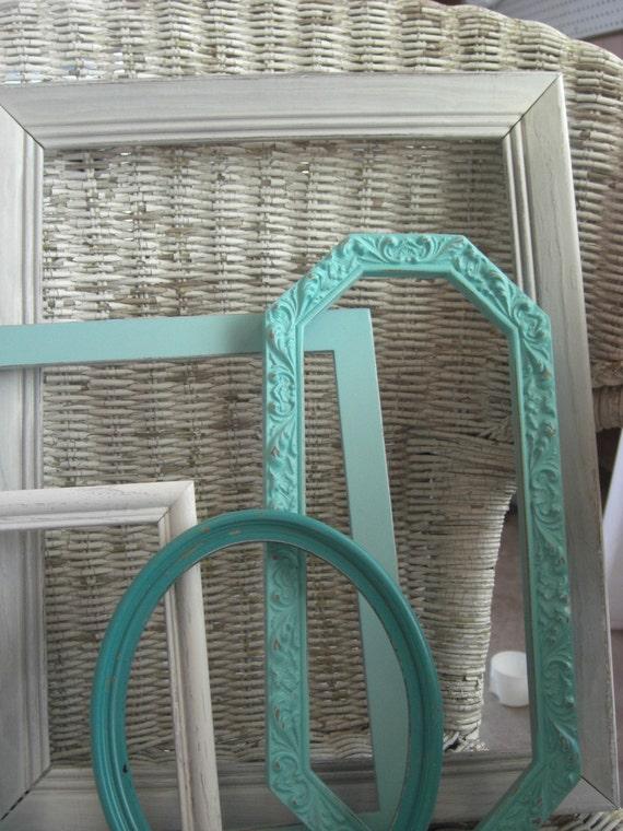 Shabby Chic Beach Cottage Frames - Aqua, White