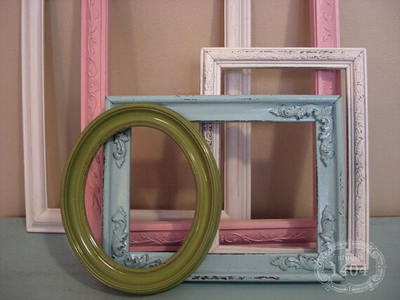 """Reserved for """"jm"""" - Shabby Chic Frame Set - Shabby Sweet Painted Frames - Pink, Aqua, Green, White"""