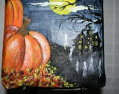 Halloween Bag  Hand Painted Scarey Haunted House on the Hill