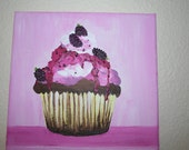 Fresh Boysenberry Sundae Cupcake Painting 8 x 10