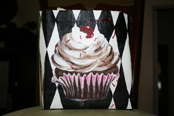 Hand Painted Luscious Cupcake Canvas Bag 8.5 x 8 inches