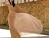 High Fashion Nude Star-Light Evening Gown (Custom Made)