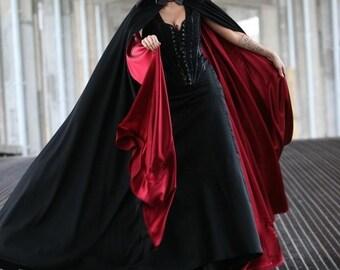 Super Vampire Goth  Black And Red Cloak