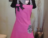 Pink Apron with Zebra Ties and black bow