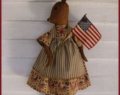 PRIMITIVE FOLK ART Americana Bunny Rabbit Doll