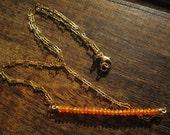 Modern Carnelian Quartz and Gold-Fill Bar Necklace