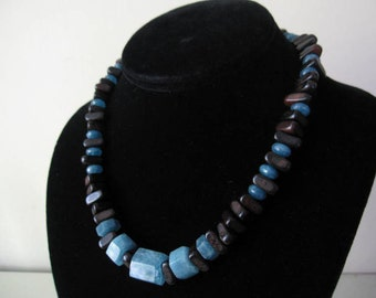 Angelite and Wood Necklace