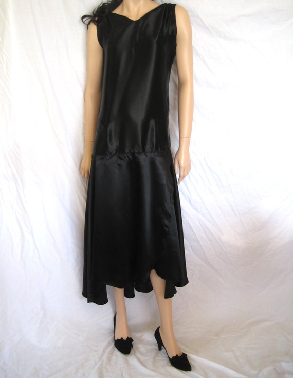 Antique Black Liquid Satin Authentic Flapper Gatsby Dress (S/M)