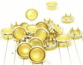 24 Light Yellow Cowgirl Snaps Pearl Prong Western Snaps