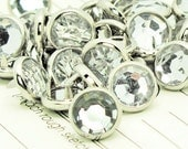 24 RHINESTONE Cowgirl Snaps Pearl Prong Western Snaps