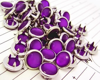 24 Purple Cowgirl Snaps Pearl Prong Western Snaps