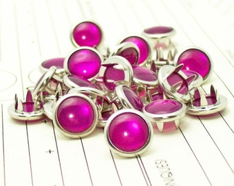 48 Magenta Cowgirl Snaps Pearl Prong Western Snaps