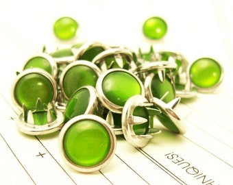 24 Forest Green Cowgirl Snaps Pearl Prong Western Snaps
