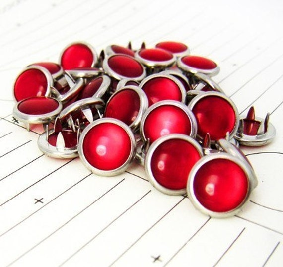 24 Red Cowgirl Snaps Pearl Prong Western Snaps