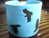 SALE Turquoise Crow Cuff Bracelet , Black Bird Design, Handmade Jewelry by theshagbag on Etsy