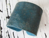SALE Men's dark turquoise cuff bracelet, rustic and distressed, handmade by theshagbag on Etsy