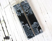 SALE Long black earrings Asian floral design by theshagbag on Etsy