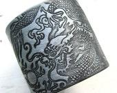 Weekend SALE Men's silver cuff bracelet Asian dragon design, handmade jewelry by theshagbag on Etsy