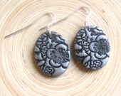 Silver earrings Asian floral minis, handmade jewelry by theshagbag on Etsy