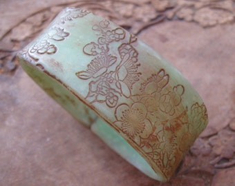 CIJ SALE Antique Jade Style Bracelet, Asian Floral Design, Handmade Bracelets by theshagbag on Etsy